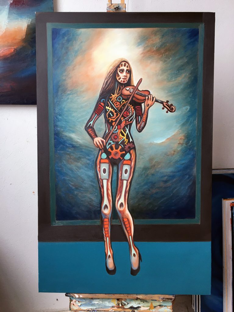 Erato | Oil on canvas | 76 x 122 cm | On the easel