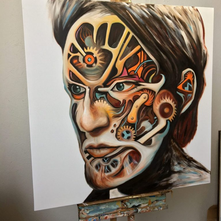 Hephaestus - oil on canvas painting by Paul Kingsley Squire from the Mechanical Paradise series