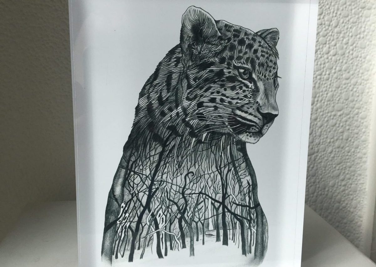 Amur Leopard Drawing | Limited edition print on acrylic glass block | 15 x 20 cm | Edition of 3