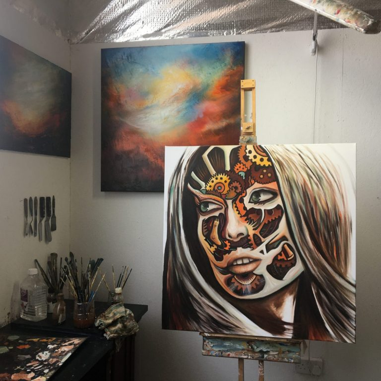 Medea on the easel in the studio
