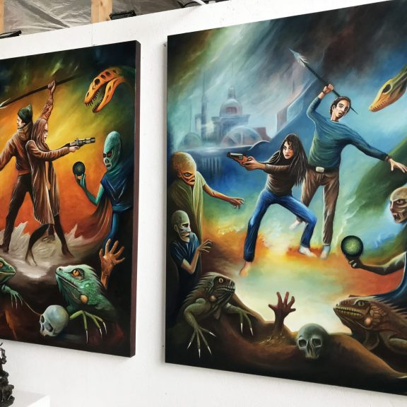 Series of retro science fiction themed oil paintings