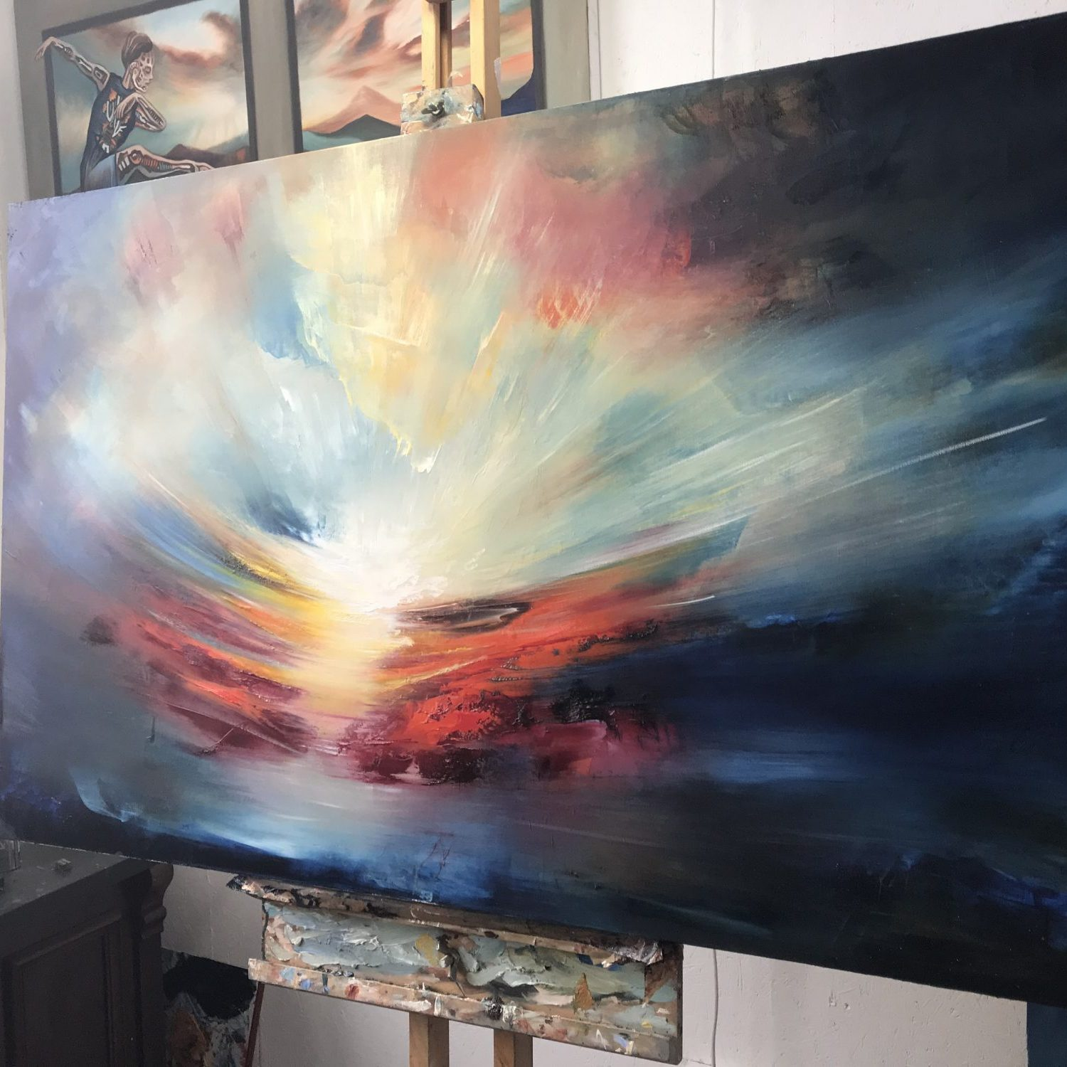 Etheric Sun - abstract landscape painting by Paul Kingsley Squire