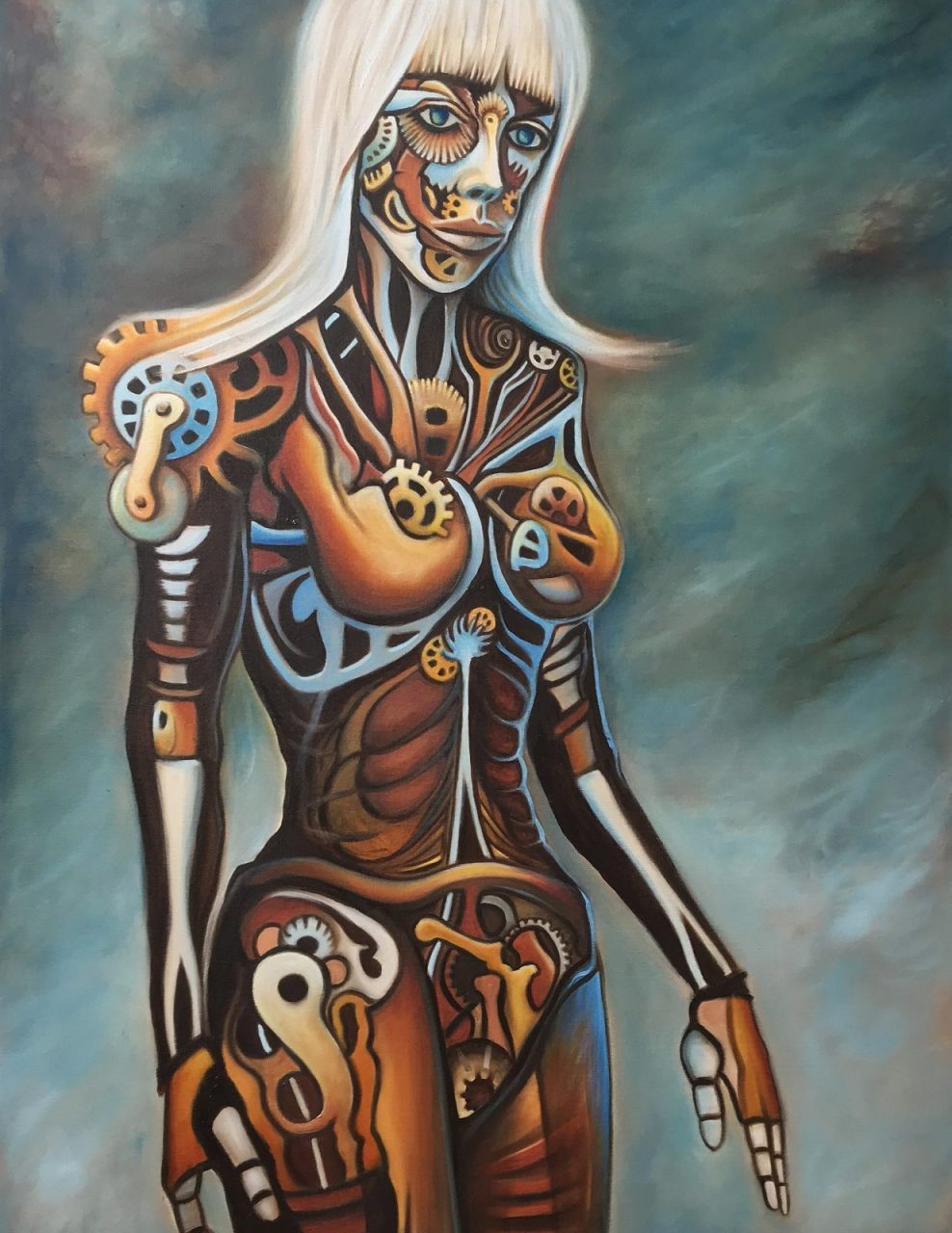 Kourai Khryseai One - surreal, figurative, oil painting by Paul Kingsley Squire