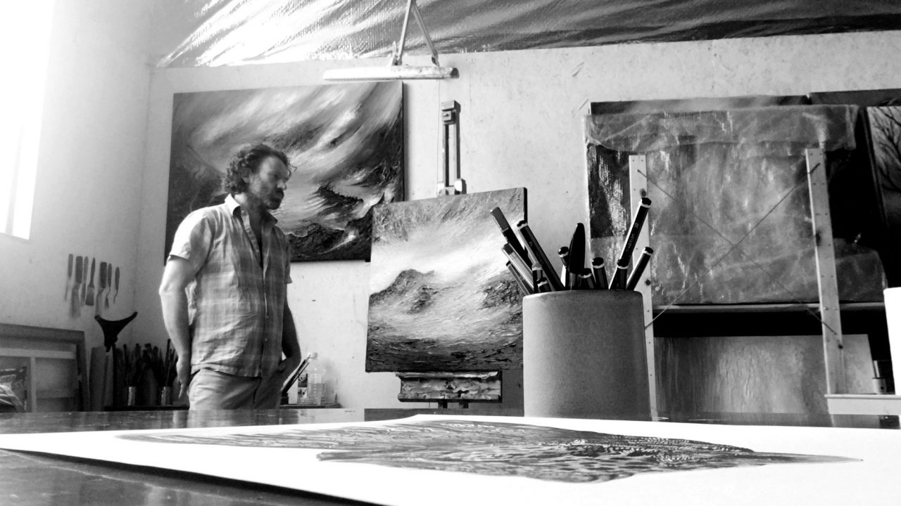 Artist Paul Kingsley Squire in his studio