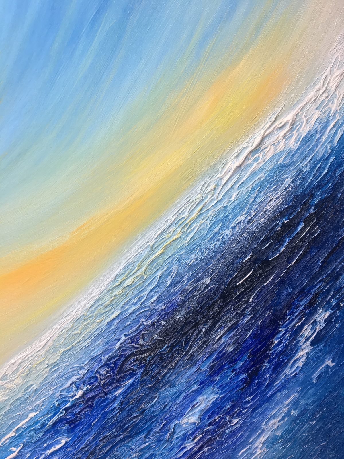 The Wave - oil on canvas abstract landscape painting (detail)