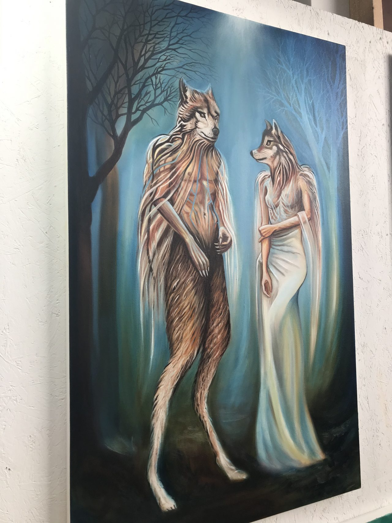 Wolf human hybrid dark fairytale by London based artist