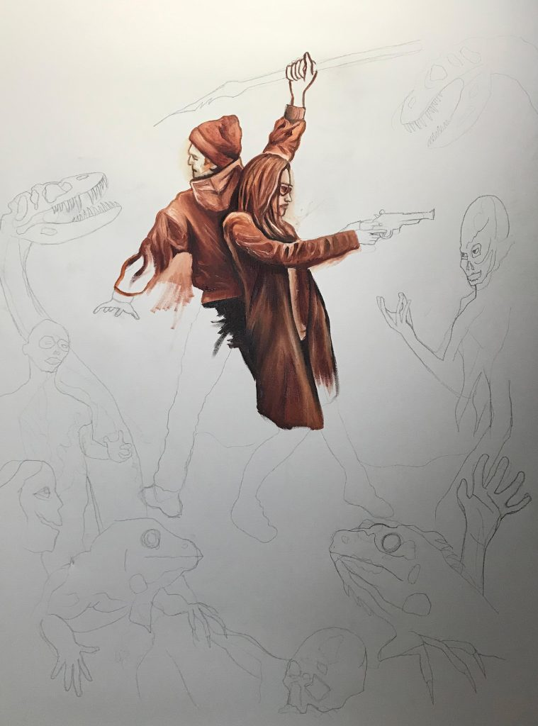 "Underpainting technique for ""Vanguard at the Edge of Time"""