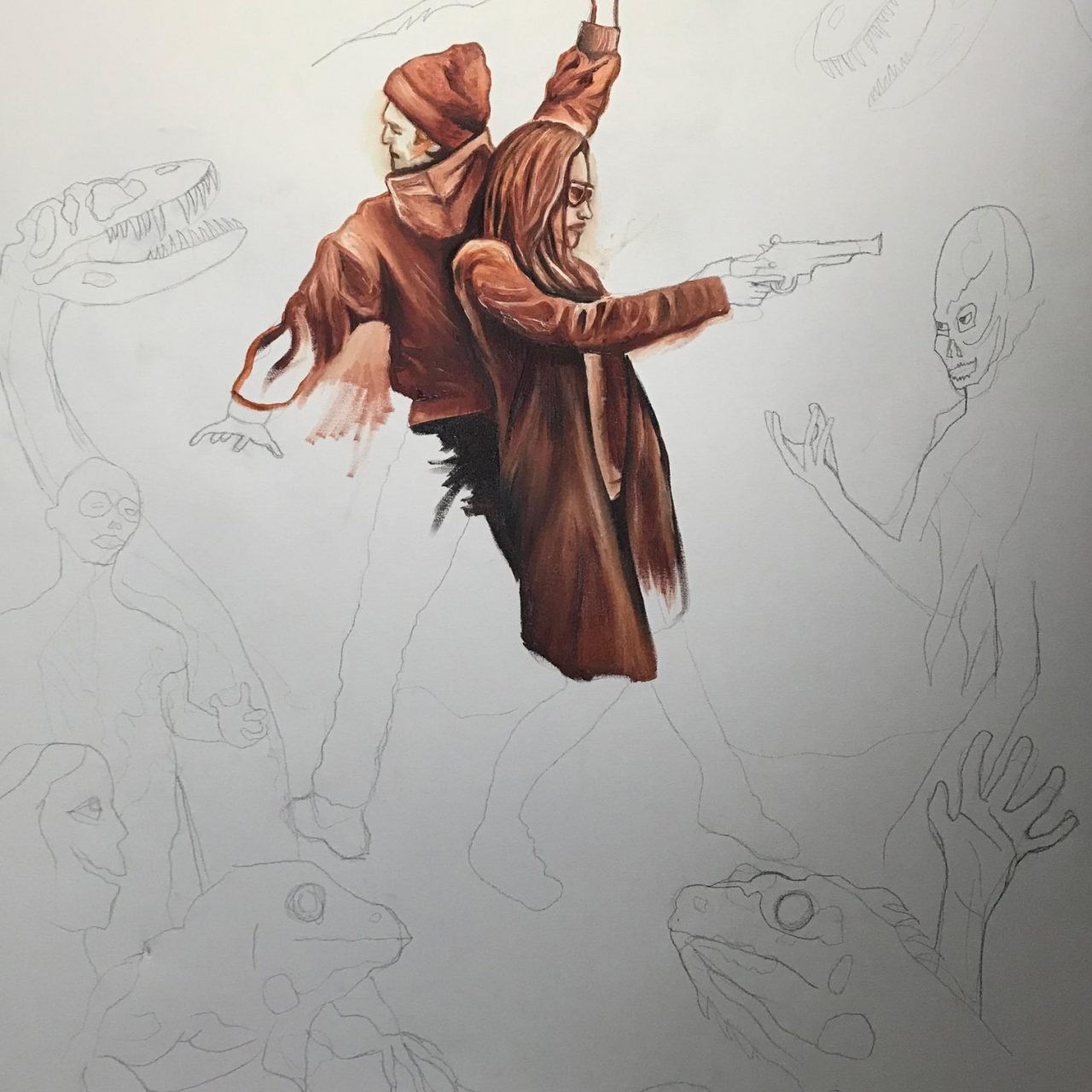 """Underpainting technique for """"Vanguard at the Edge of Time"""""""